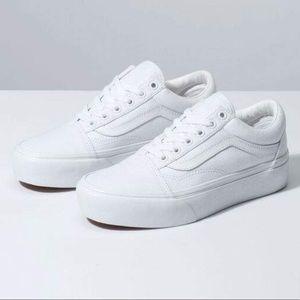 VANS Old Skool Platform True White Womens Shoes 7